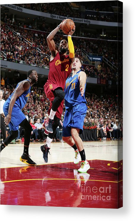 Nba Pro Basketball Acrylic Print featuring the photograph Kyrie Irving and Klay Thompson by David Sherman