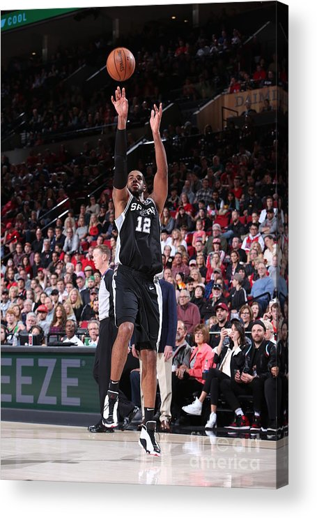 Nba Pro Basketball Acrylic Print featuring the photograph Lamarcus Aldridge and Jakob Poeltl by Sam Forencich