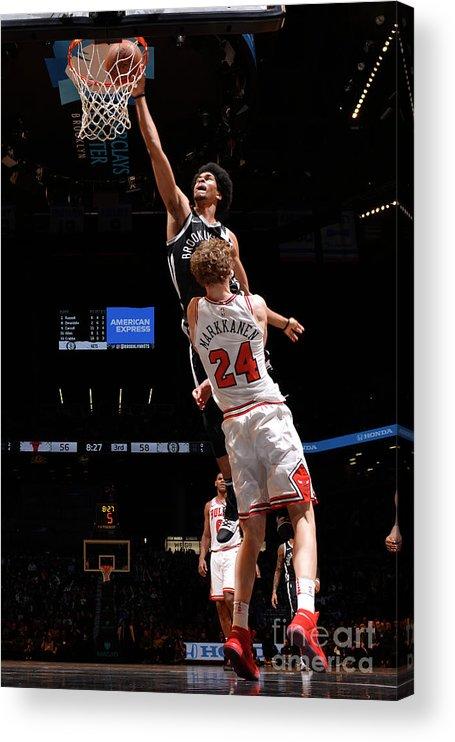Chicago Bulls Acrylic Print featuring the photograph Lauri Markkanen, Jarrett Allen, and Drazen Petrovic by Jesse D. Garrabrant
