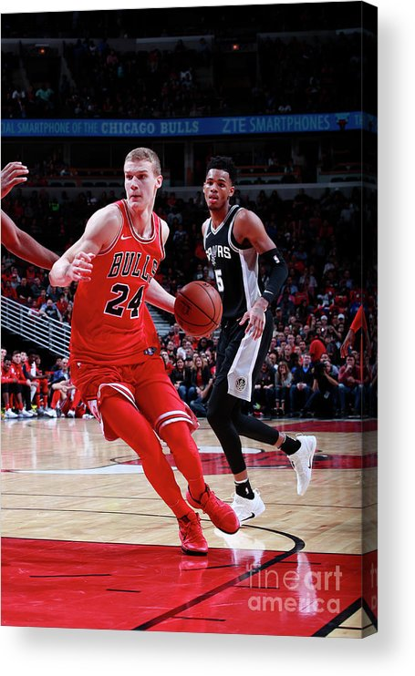 Chicago Bulls Acrylic Print featuring the photograph Lauri Markkanen by Jeff Haynes