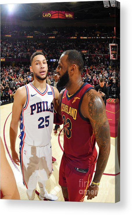 Nba Pro Basketball Acrylic Print featuring the photograph Lebron James and Ben Simmons by Jesse D. Garrabrant