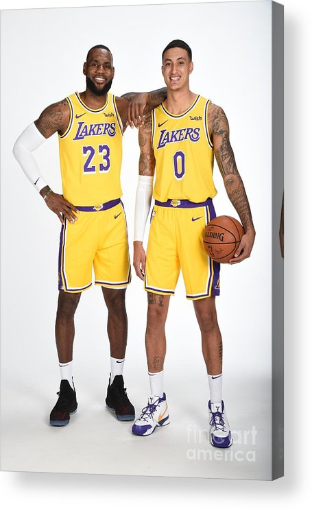 Media Day Acrylic Print featuring the photograph Lebron James and Kyle Kuzma by Andrew D. Bernstein