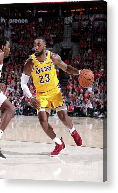 Nba Pro Basketball Acrylic Print featuring the photograph Lebron James by Sam Forencich