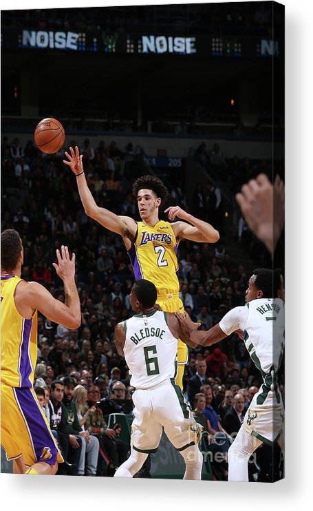 Nba Pro Basketball Acrylic Print featuring the photograph Lonzo Ball by Gary Dineen
