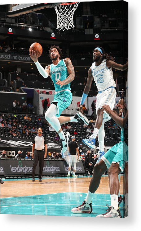 Nba Pro Basketball Acrylic Print featuring the photograph Los Angeles Lakers v Charlotte Hornets by Kent Smith