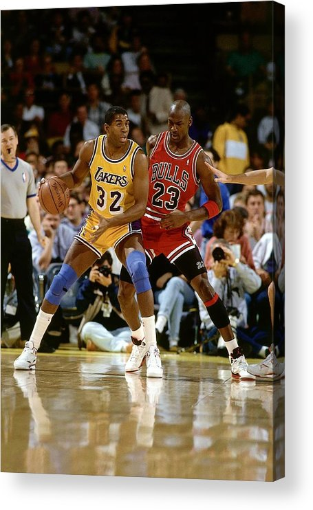 Chicago Bulls Acrylic Print featuring the photograph Magic Johnson and Michael Jordan by Andrew D. Bernstein