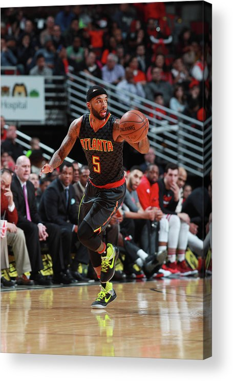 Nba Pro Basketball Acrylic Print featuring the photograph Malcolm Delaney by Jeff Haynes