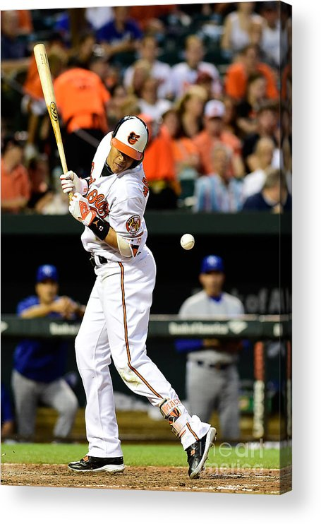 People Acrylic Print featuring the photograph Manny Machado and Yordano Ventura by Patrick Mcdermott