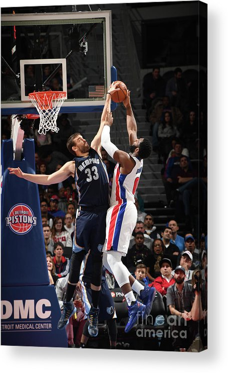 Nba Pro Basketball Acrylic Print featuring the photograph Marc Gasol and Andre Drummond by Chris Schwegler