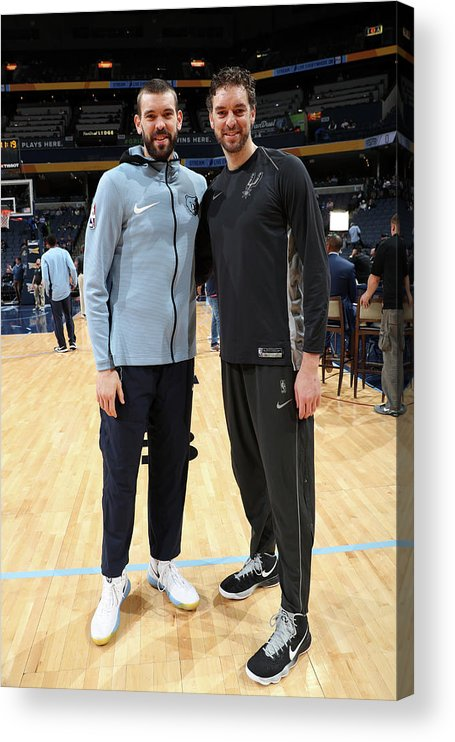 Nba Pro Basketball Acrylic Print featuring the photograph Marc Gasol and Pau Gasol by Joe Murphy