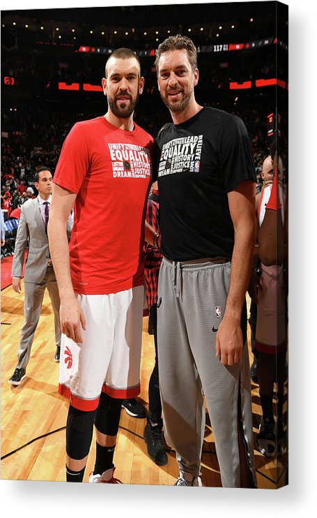 Nba Pro Basketball Acrylic Print featuring the photograph Marc Gasol and Pau Gasol by Ron Turenne