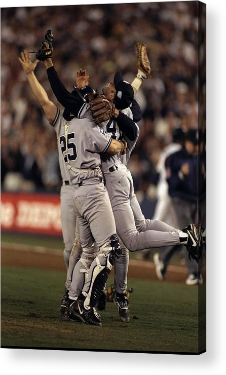 Following Acrylic Print featuring the photograph Mariano Rivera and Joe Girardi by Al Bello