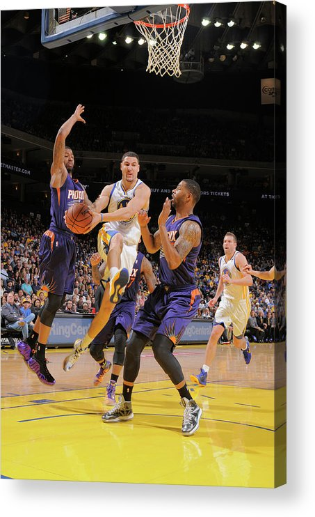 Nba Pro Basketball Acrylic Print featuring the photograph Markieff Morris, Klay Thompson, and Marcus Morris by Rocky Widner