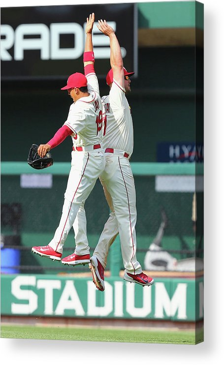 St. Louis Cardinals Acrylic Print featuring the photograph Matt Holliday and Jon Jay by Dilip Vishwanat
