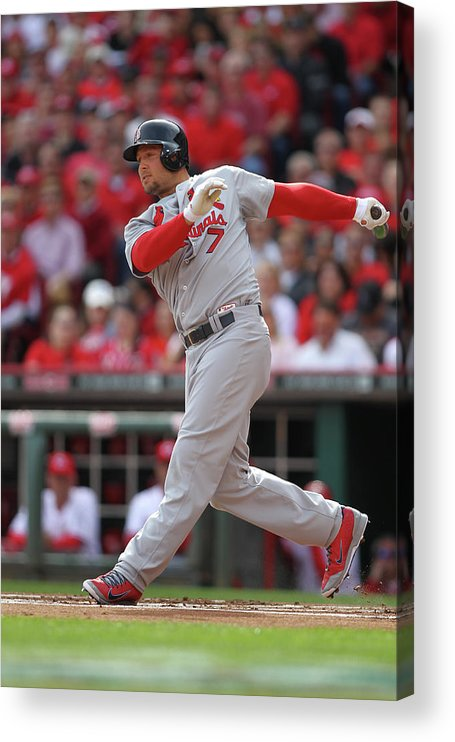 Great American Ball Park Acrylic Print featuring the photograph Matt Holliday by John Grieshop