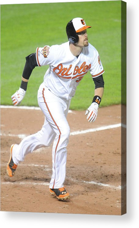 Game Two Acrylic Print featuring the photograph Matt Wieters by Mitchell Layton