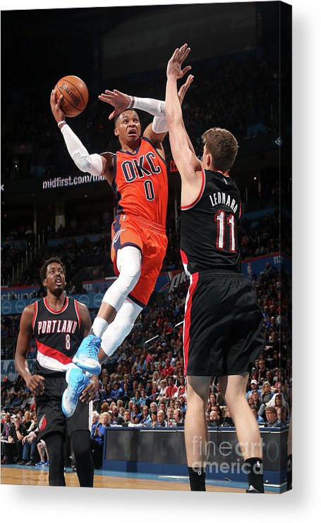 Meyers Leonard Acrylic Print featuring the photograph Meyers Leonard and Russell Westbrook by Layne Murdoch