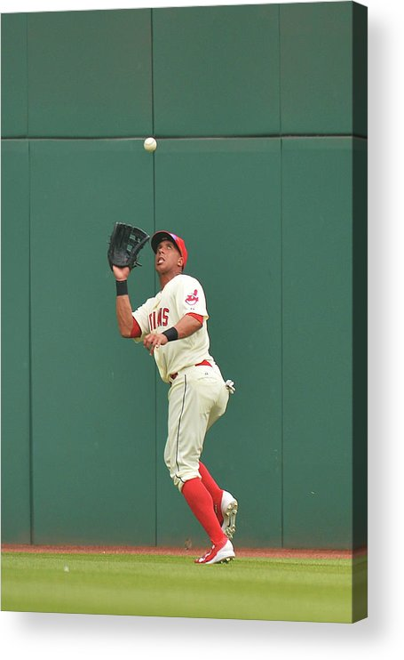 People Acrylic Print featuring the photograph Michael Brantley and Skip Schumaker by Jamie Sabau