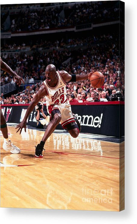 Chicago Bulls Acrylic Print featuring the photograph Michael Jordan by Barry Gossage