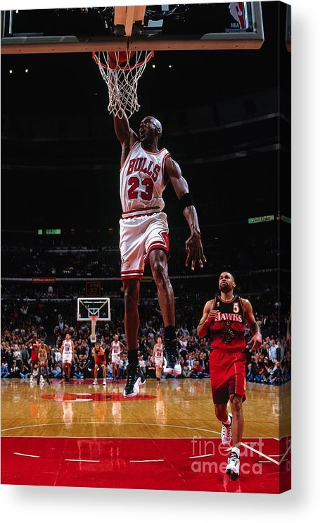 Chicago Bulls Acrylic Print featuring the photograph Michael Jordan by Nathaniel S. Butler