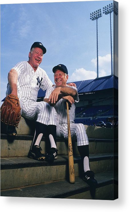 1980-1989 Acrylic Print featuring the photograph Mickey Mantle and Whitey Ford by Ronald C. Modra/sports Imagery