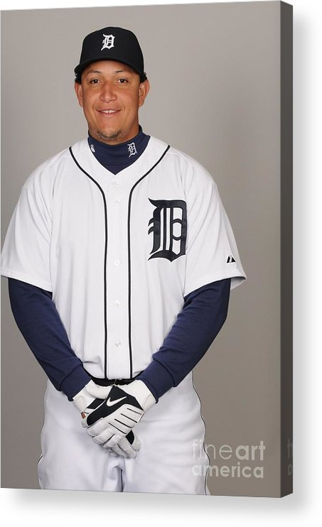 Media Day Acrylic Print featuring the photograph Miguel Cabrera by Tony Firriolo