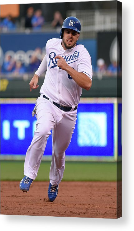 People Acrylic Print featuring the photograph Mike Moustakas and Lorenzo Cain by Ed Zurga