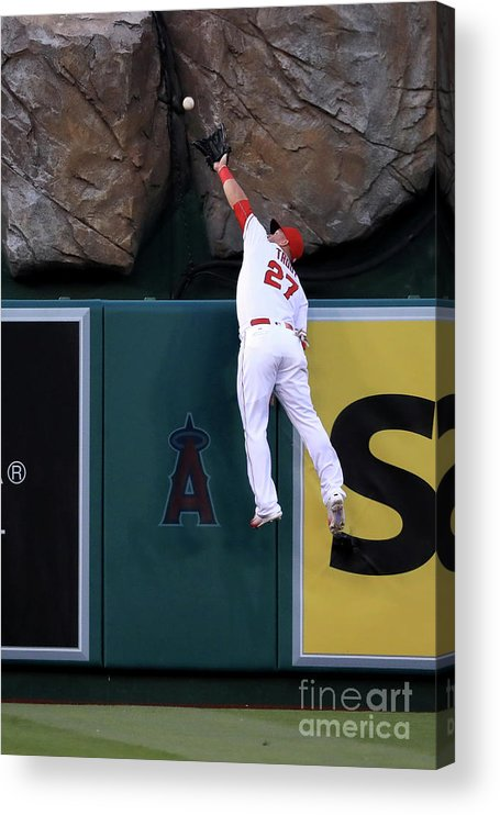 People Acrylic Print featuring the photograph Mike Moustakas and Mike Trout by Sean M. Haffey