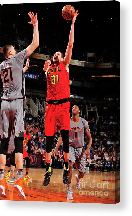 Nba Pro Basketball Acrylic Print featuring the photograph Mike Muscala by Barry Gossage
