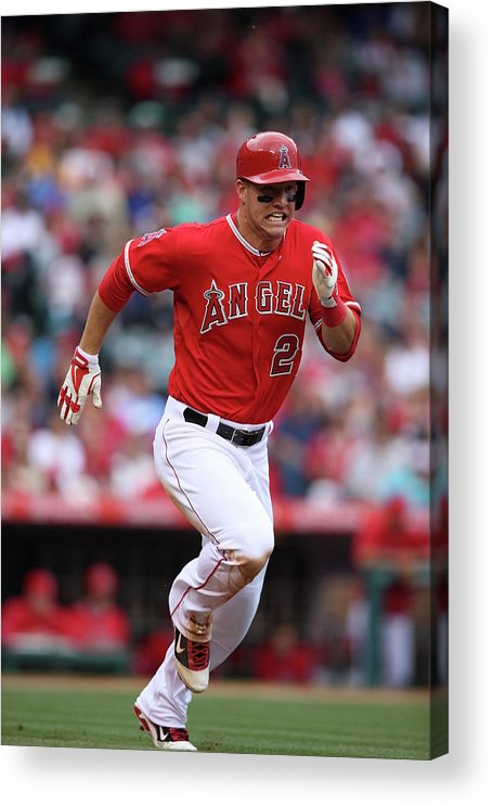 People Acrylic Print featuring the photograph Mike Trout by Paul Spinelli