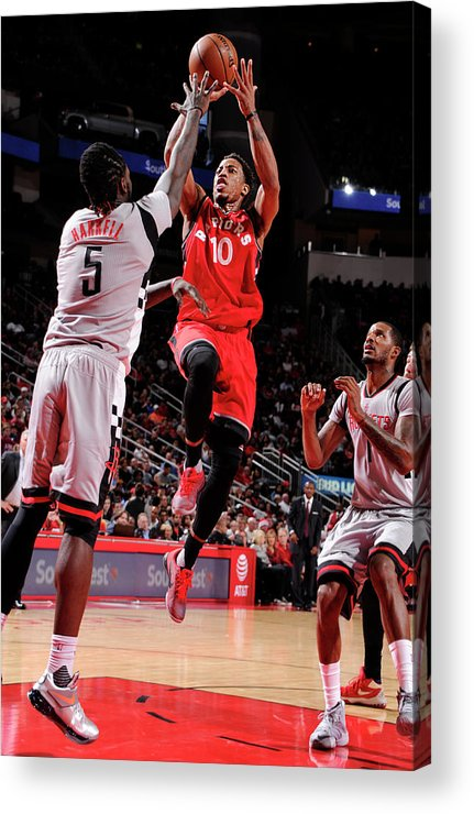 Nba Pro Basketball Acrylic Print featuring the photograph Montrezl Harrell and Demar Derozan by Bill Baptist