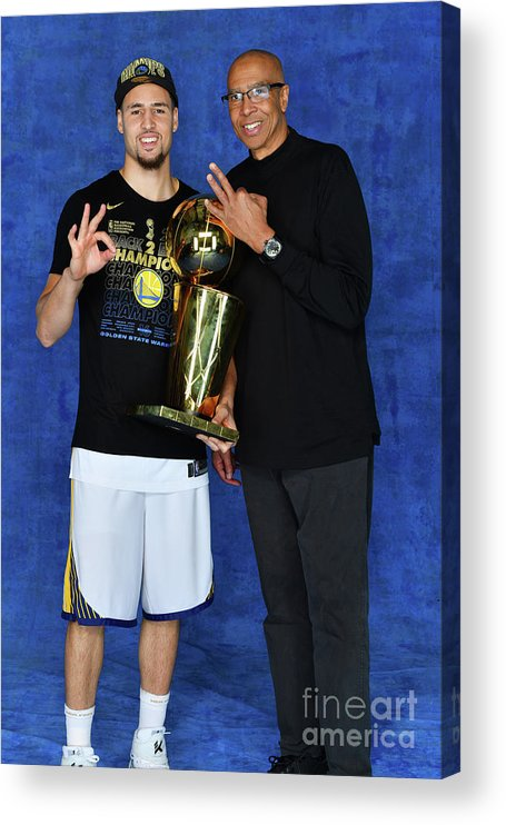 Playoffs Acrylic Print featuring the photograph Mychal Thompson and Klay Thompson by Jesse D. Garrabrant