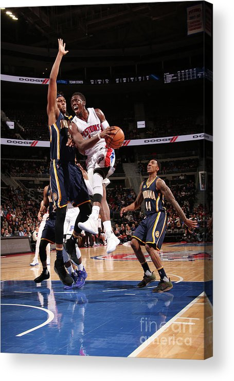 Nba Pro Basketball Acrylic Print featuring the photograph Myles Turner and Reggie Jackson by Brian Sevald