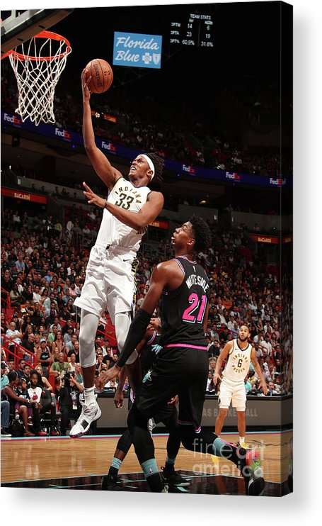 Nba Pro Basketball Acrylic Print featuring the photograph Myles Turner by Issac Baldizon