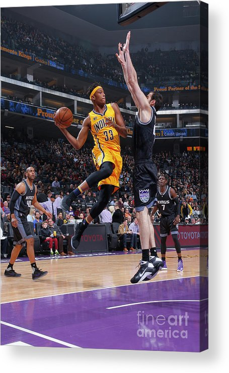 Nba Pro Basketball Acrylic Print featuring the photograph Myles Turner by Rocky Widner