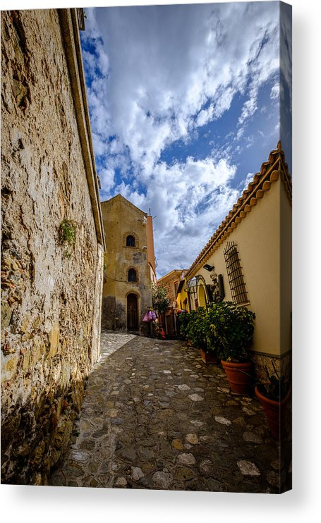 Sicily Acrylic Print featuring the photograph Narrow alley and old houses with plants outside in Castelmola Taormina Sicily Italy by Finn Bjurvoll Hansen