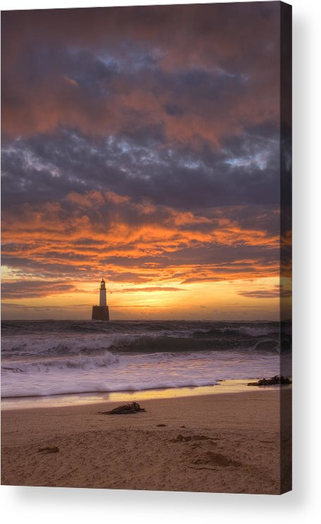 Water's Edge Acrylic Print featuring the photograph North Sea Lighthouse At Dawn by Theasis