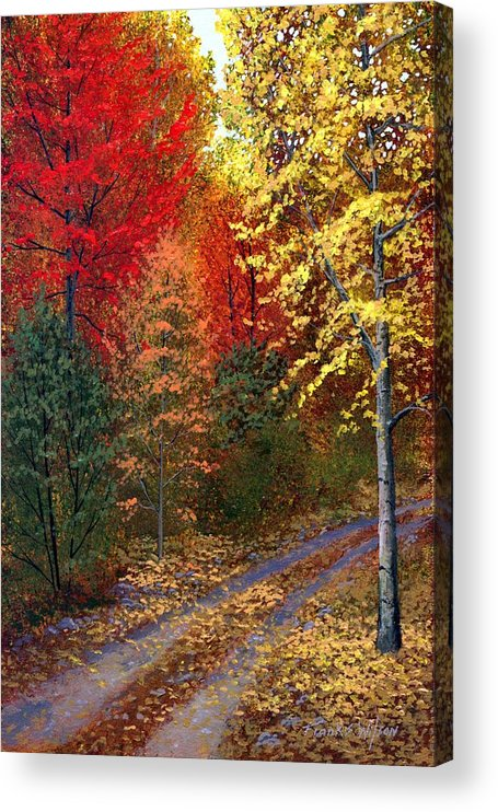 Landscape Acrylic Print featuring the painting October Road by Frank Wilson