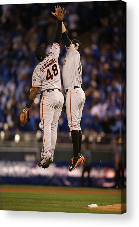 Playoffs Acrylic Print featuring the photograph Pablo Sandoval and Brandon Belt by Brad Mangin