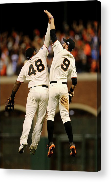 San Francisco Acrylic Print featuring the photograph Pablo Sandoval and Brandon Belt by Elsa