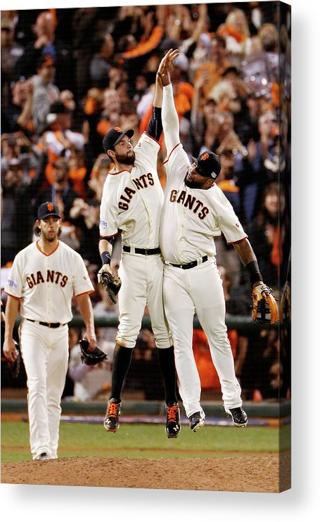 San Francisco Acrylic Print featuring the photograph Pablo Sandoval and Brandon Belt by Thearon W. Henderson