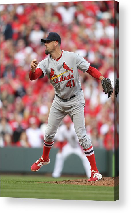 Great American Ball Park Acrylic Print featuring the photograph Pat Neshek by John Grieshop