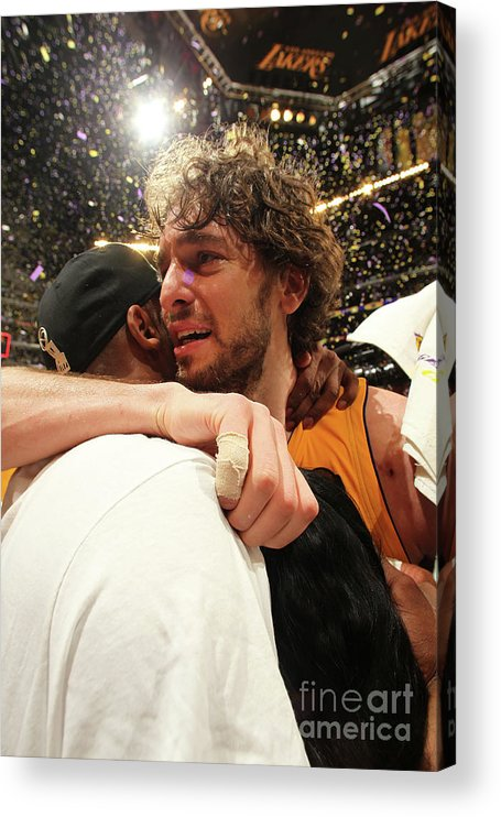 Playoffs Acrylic Print featuring the photograph Pau Gasol and Kobe Bryant by Nathaniel S. Butler