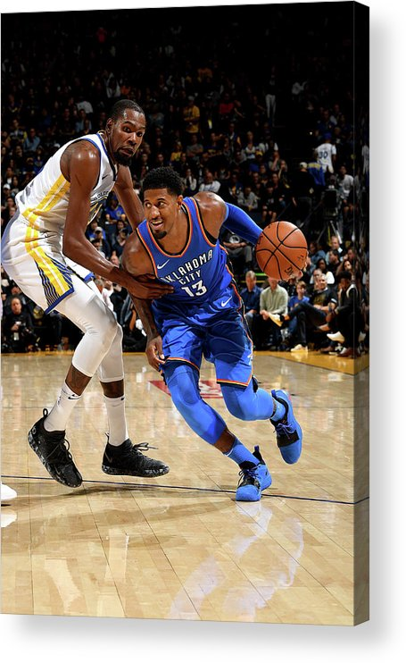 Nba Pro Basketball Acrylic Print featuring the photograph Paul George and Kevin Durant by Noah Graham