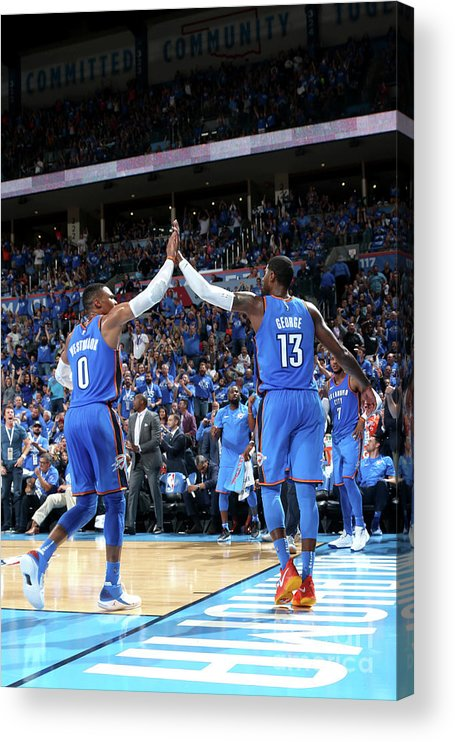 Nba Pro Basketball Acrylic Print featuring the photograph Paul George and Russell Westbrook by Layne Murdoch