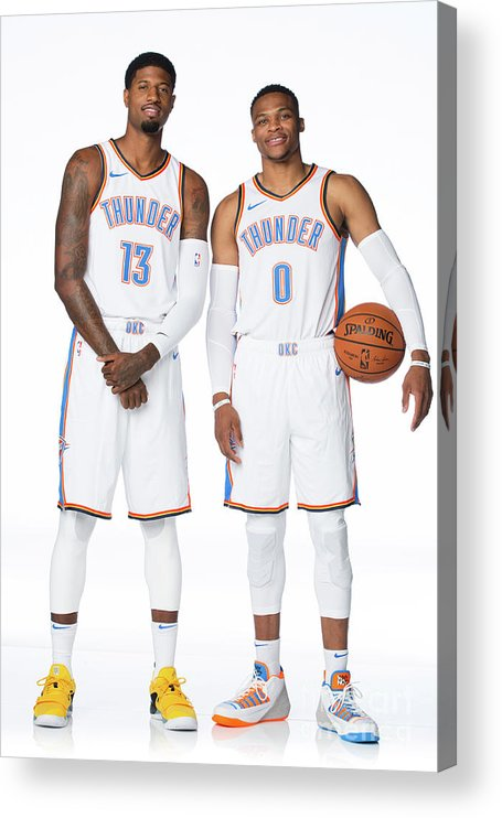 Media Day Acrylic Print featuring the photograph Paul George and Russell Westbrook by Nba Photos