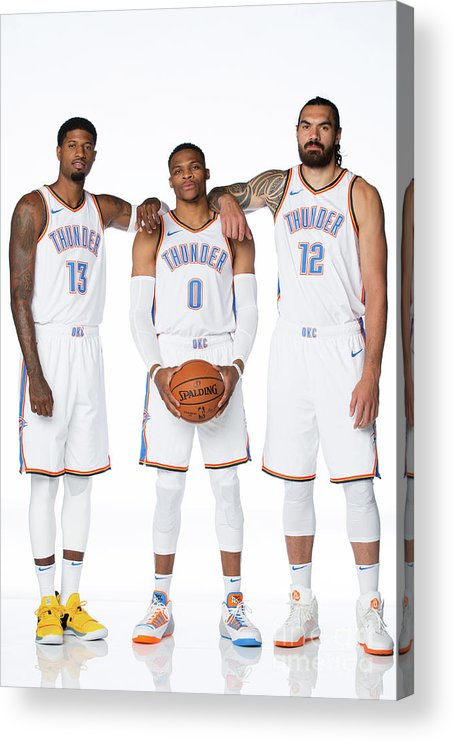 Media Day Acrylic Print featuring the photograph Paul George, Russell Westbrook, and Steven Adams by Nba Photos
