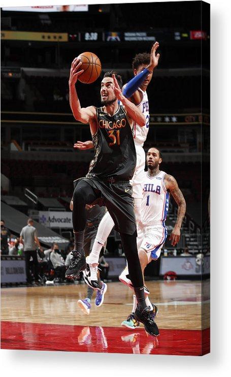 Nba Pro Basketball Acrylic Print featuring the photograph Philadelphia 76ers v Chicago Bulls by Jeff Haynes