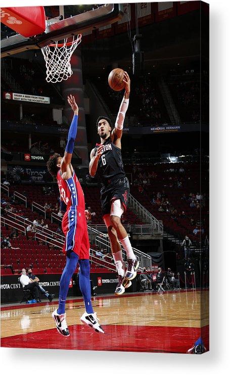 Nba Pro Basketball Acrylic Print featuring the photograph Philadelphia 76ers v Houston Rockets by Troy Fields