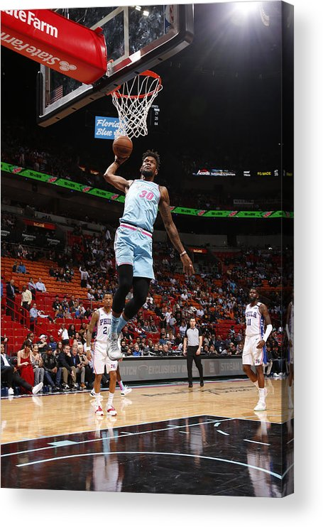 Nba Pro Basketball Acrylic Print featuring the photograph Philadelphia 76ers v Miami Heat by Oscar Baldizon